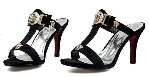 Chaussures Aisun Haut Noir des Mules à Décor Sexy Bal Strass Talon Femme UOqEOw6