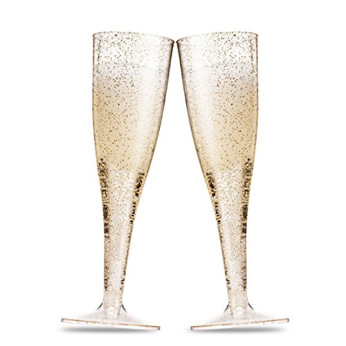 100 Pack Gold Glitter Plastic Champagne Flutes ~ 5 Oz Clear Plastic Toasting Glasses ~ Disposable Wedding Party Cocktail Cups by Munfix (Image #3)