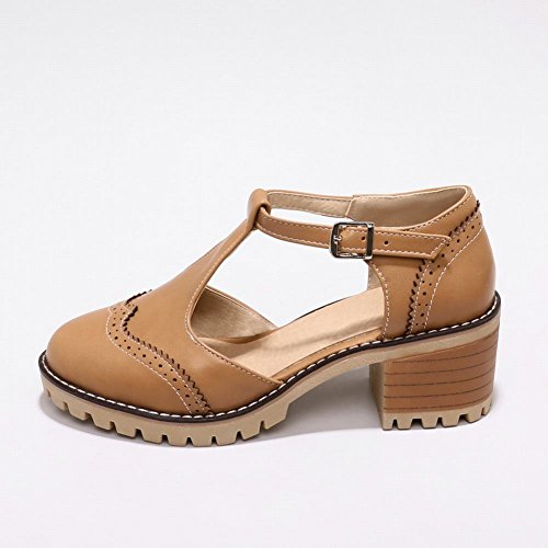 Carolbar Women's Solid Color Concise Mid Heel T-Strap Buckle Court Shoes Apricot Brown Yx4Xwl8z