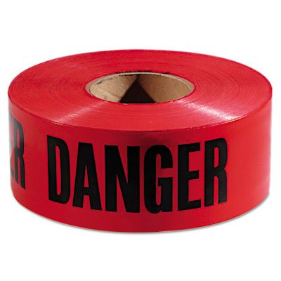Danger Barricade Tape, 3'''' x 1000ft, Red/Black, Sold as 1 Roll
