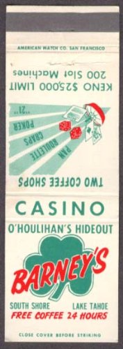 Barney's Casino O'Houlihan's Lake Tahoe matchcover