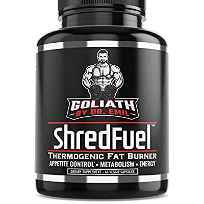 Goliath by Dr. Emil ShredFuel Thermogenic Fat Burner for Men & Women - Max Dose Weight Loss Supplement, Metabolism Booster & Appetite Suppressant.