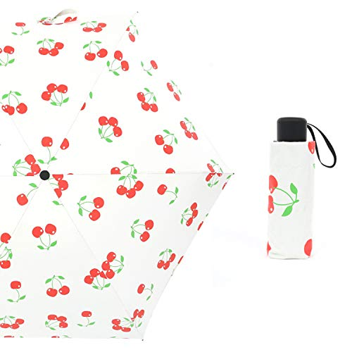 (Ttyug Portable 3 Style Mini Pocket Five Folding Umbrella Rain Women for Kids Men Sunny Parasol Umbrellas Cherry China )