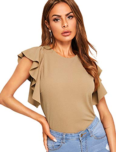 Romwe Women's Ruffle Sleeve Solid Elegant Wear to Work Blouse Top Apricot S