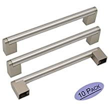 10Pack Goldenwarm Stainless Steel Boss Bar Kitchen Cabinet Hardware Handles and knobs Brushed Nickel Bedroom Door Cupboard Drawer Pull Handles, Center to Center 6-1/4in(160mm)
