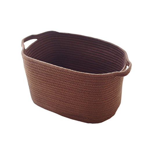 XIANIWTA Cotton Rope Knitted Storage Basket Bin Foldable Laundry Basket Hamper with Handles for Nursery Kids Toys Storage (Coffee) (Laundry Hide Holder)
