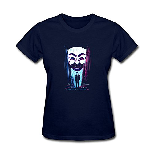 ZhiBo A One or a Zero Binary Mask for Mr. Robot for Fsociety for Hacker for Rami Malek for Elliot Alderson Designed T-shirt for Woman Royal Blue Small