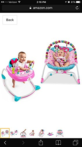 Disney Baby Minnie Mouse Peekaboo Infant To Toddler Rocker and Disney Baby Minnie Mouse Peekaboo Walker