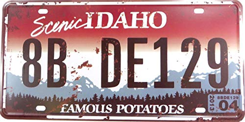 AllPrints ShopForAllYou Decor Signs Art Wall Scenic Idaho Famous POTATOS 8B DE129 License Plate tin Sign