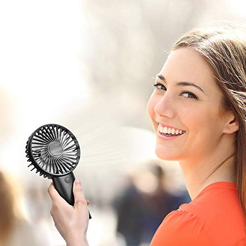 PRAVETTE Mini Portable Handheld Fan, USB 4000mAH Rechargeable Batteries, 8-18 Hours Working Time Personal Fan, 3 Speed Settings for Office Home Outdoor Travel (Black)