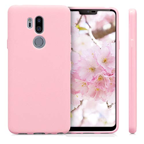 kwmobile TPU Silicone Case Compatible with LG G7 ThinQ/Fit/One - Soft Flexible Protective Phone Cover - Rose Gold Matte