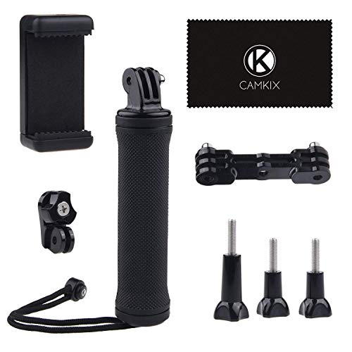 CamKix Stabilizing Hand Grip Compatible with GoPro Hero 7, 6, Hero 5, 4, 3+, 3 with Dual Mount, Tripod Adapter and Universal Phone Holder - Record Videos with 2 Different Camera Angles Sim