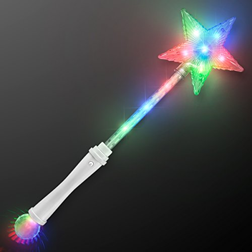 Light Up White Super Star Princess LED Wand -