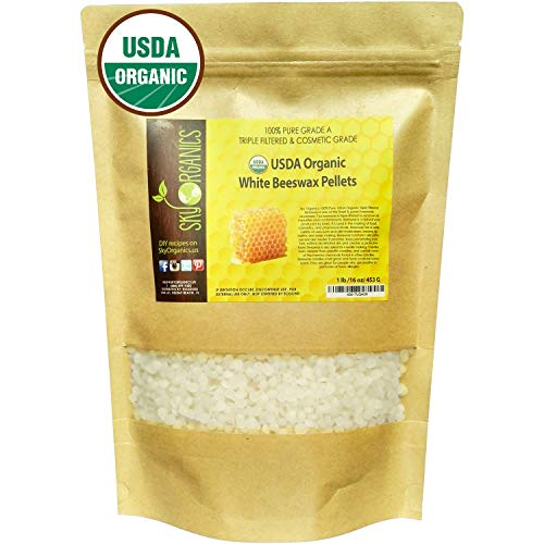 Sky Organics USDA Organic White Beeswax Pellets (1lb) Pure Bees Wax No Toxic Pesticides or Chemicals...