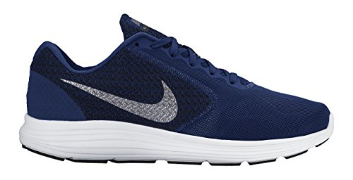 Nike Revolution 3, Herren Laufschuhe, Blau (Deep Royal Blue/Metallic Clear Grey-Black-White 400), 43 EU (8.5 UK)