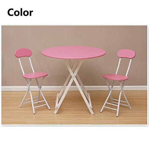 QYJ-matbord modernt hushåll runt köksbord 4–6 sitsig bärbart fällbart bord (rosa)