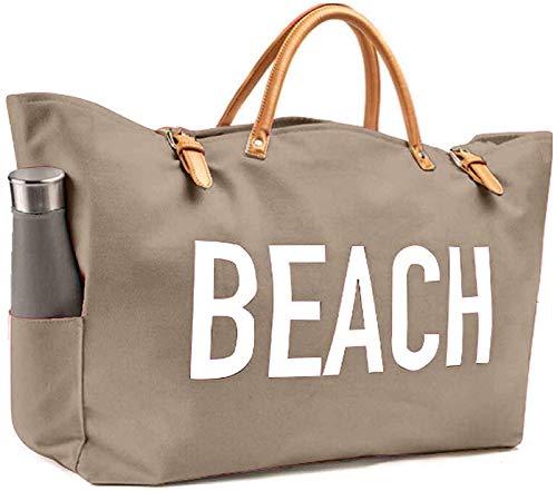 Bolso de playa de moda KEHO (lindo bolso de viaje), grande y espacioso, forro impermeable, múltiples bolsillos para almacenamiento