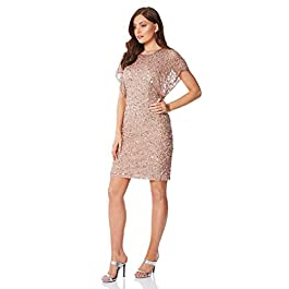 Roman Originals Women's Sequin Embellished Angel Sleeve Dress – Ladies Glitter Sparkly Bodycon Knee Length Smart Special Occasion Formal Cocktail Party Dance Evening Wear – Mink – Size 14
