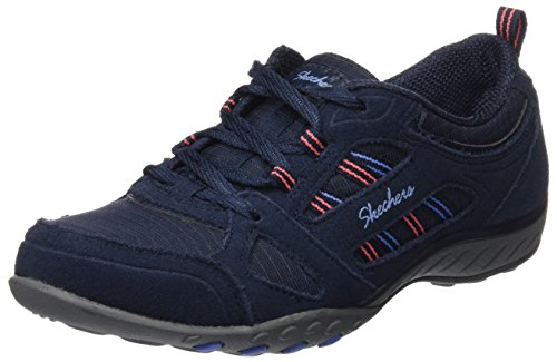 Skechers Breathe-Easy-Good Luck, Zapatillas para Mujer Navy Suede/mesh/blue/coral Trim