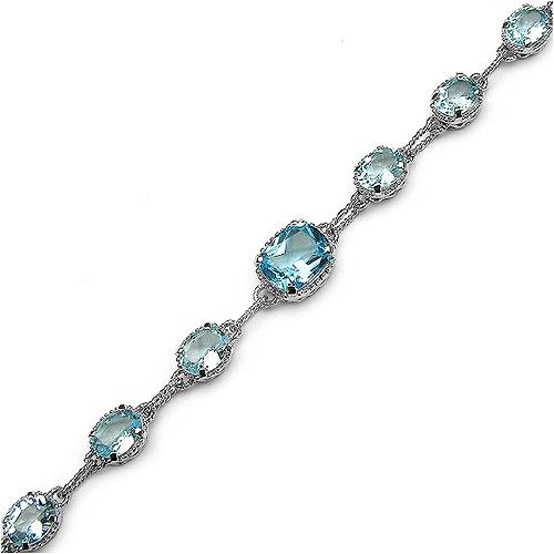 24.70 Carat Genuine Blue Topaz Sterling Silver Bracelet