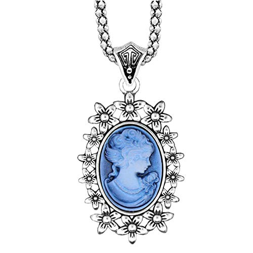 xinchengquzhihao Cameo Pendant Necklace Vintage Hollow Flower Necklace for Women Silver Plated Fashion Jewelry,Blue