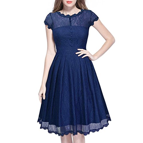 Goddessvan Women Sexy Lace Short Sleeve Backless Dress Slim Party Cocktail Plus Mini Dress (XXL, Blue) by Goddessvan