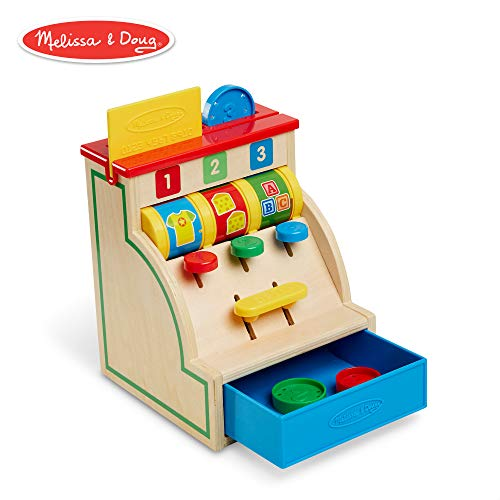 Melissa & Doug Spin & Swipe Wooden Cash Register (Developmental Toy)