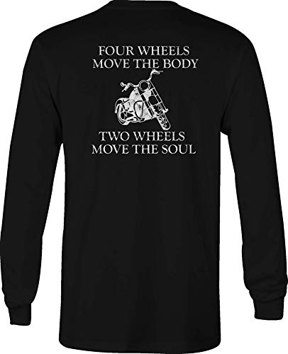Motorcycle Long Sleeve T Shirt Men Move The Soul Graphic Tee - 2XL Black ()