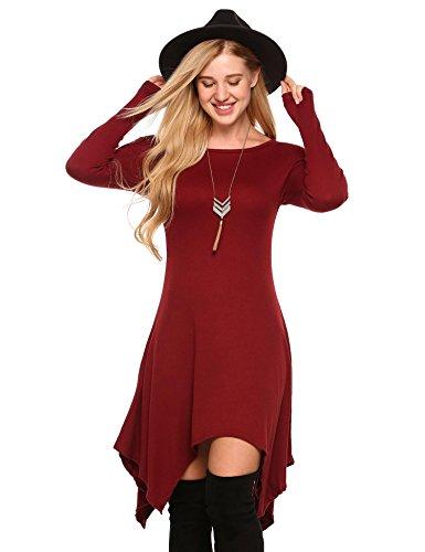 Beyove Women's Asymmetrical hem stitching Long Sleeve Dress, Wine Red, XX-Large