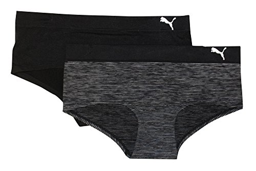 Puma Women's 2-Pack Seamless Super Soft Sport Stretch Hipster Panty, Black, X-Large