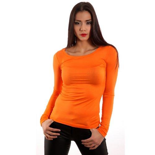 Maniche Fashion Basic Maglia lunga Donna lunghe a Young manica Arancione CUxYqPdnBw