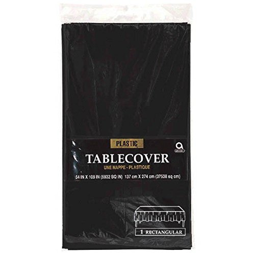 Reusable Plain Rectangular Table Cover Party Tableware, Jet Black, Plastic, 54