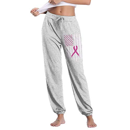 YOOJPC-6 Women's Pink Ribbon Breast Cancer Awareness Flag Sweatpants with Pockets Running Pants