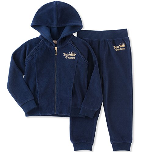 Juicy Couture Little Girls' 2 Piece Velour Pants Set, Navy/Gold, 6 (Girls Velour Pants)