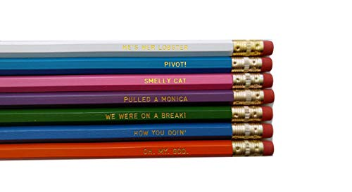 Friends TV Show Gift Back to School Pencil Set of 7 Funny Pencils with Quotes Student Gift for Her]()