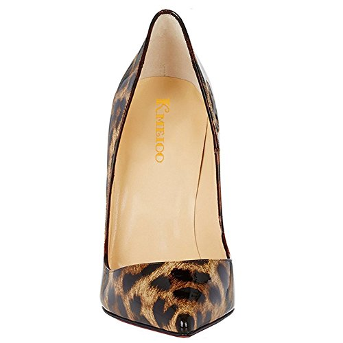 Evening Slip Leopard Heels Leopard Kmeioo Pumps Toe Pointy Women's Heels On Party Stiletto High Leopard Shoes Sexy Patent Printed gCqZ1