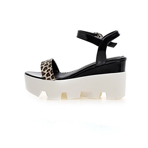 AgooLar Women's Patent Leather Open Toe High-Heels Buckle Assorted Color Sandals Black Avpes1b