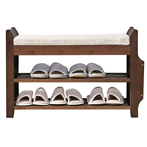Shoe Bench Rack Nnewvante Shoe Organizer with Storage Side Drawer Bamboo Removable Padded Cushion Seat for Entryway Hallway Living Room Bathroom-29.5in (Hallway Bench Organizer)