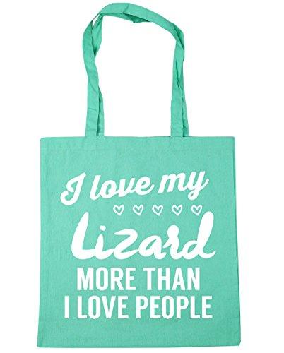 HippoWarehouse I Love My Lagarto más de I Love People Tote Compras Bolsa de playa 42cm x38cm, 10litros verde menta