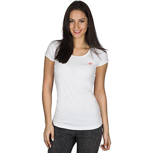Top Fitness blanco camiseta Gym F Sports manga Active Womens 4 Dri corta fit q4Hf1BBw