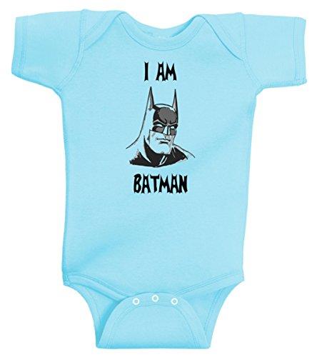 I Am Batman Funny Super Hero Onesie by BeeGeeTees® (12 Months, Aqua)