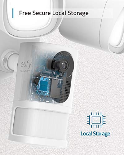 eufy Security Floodlight Camera, 1080p, No Monthly Fees, 2500 Lumens, Weatherproof, Built-in AI, 2021, Non-Stop Power…