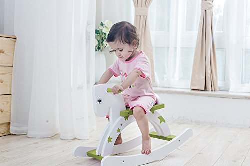 Labebe Child Rocking Horse, Wooden Rocking Horse Toy, Stars Printed Green Rocking Horse for kid 1-3 Years, Horse Rocking Chair/Outdoor Rocking Horse/Ride Animal/Rocker Toy/Horse Rocker for Boy&Girl
