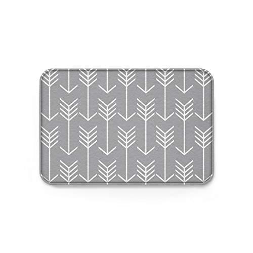 Cloud Dream Arrow Gray Rug,Doormats Non-Slip Indoor/Outdoor/Front Door,18x30 inch,Grey and White