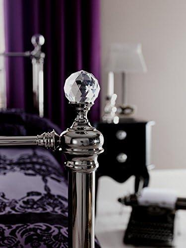 Bella Designer Black Nickel Bed Frame in Kingsize 5ft with Luxurious Crystal Finials