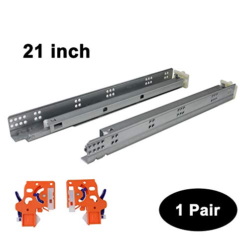 1 Pair Self Soft Close Under/Bottom Rear Mounting Drawer Slides 21 inch Concealed Drawer Runners;Locking Devices;Rear Mounting Brackets;Screws and Instructions