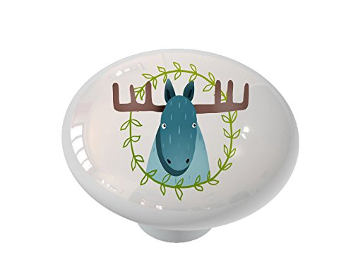 Whimsical Woodland Moose Gloss Ceramic Drawer Knob