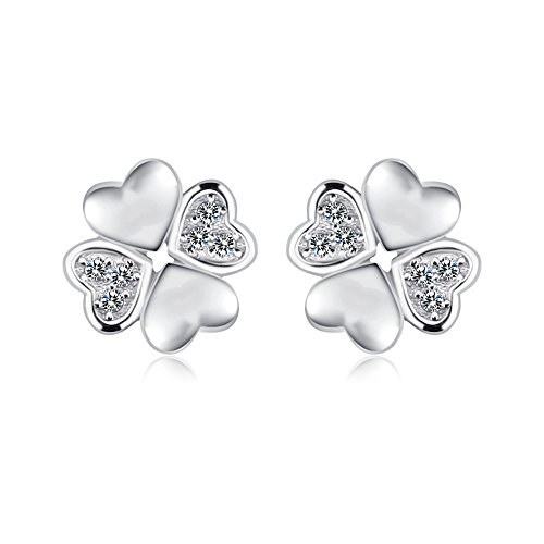 FANSING Mothers Day Gifts 925 Sterling Silver Heart Love Stud Earrings for Womens and Girls Gift (Cute Mushroom Costume)