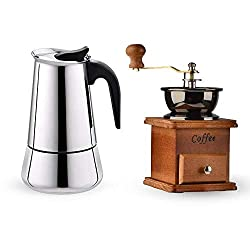 ZHCSS Stovetop Espresso Maker Stainless Steel Moka Coffee Pot, 300ML Moka Pot + Vintage Grinder