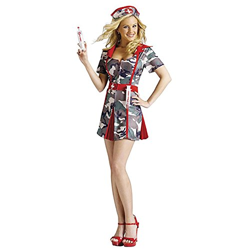 Army Themed Party Costumes (Fun World Sexy Army Nurse Party Shots Halloween Costume M/L)